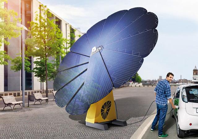 Un girasol fotovoltaico para recargar coches eléctricos