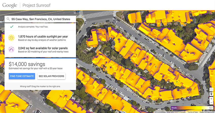 Sunroof, el proyecto de Google para medir la energía solar que recibe tu casa